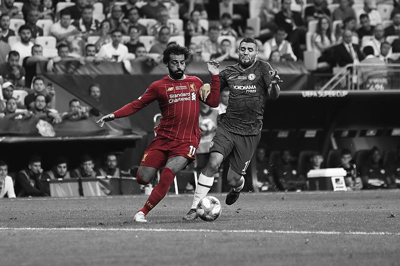 Salah running with the ball